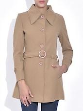 Beige Full Sleeves Woolen Jacket - By