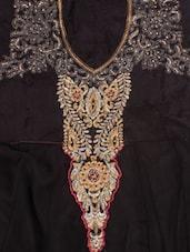 Zari Embroidered Black Unstitched Anarkali Suit Set - Khantil