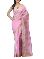 Pink Cotton Silk Zari Handwoven  Saree - By