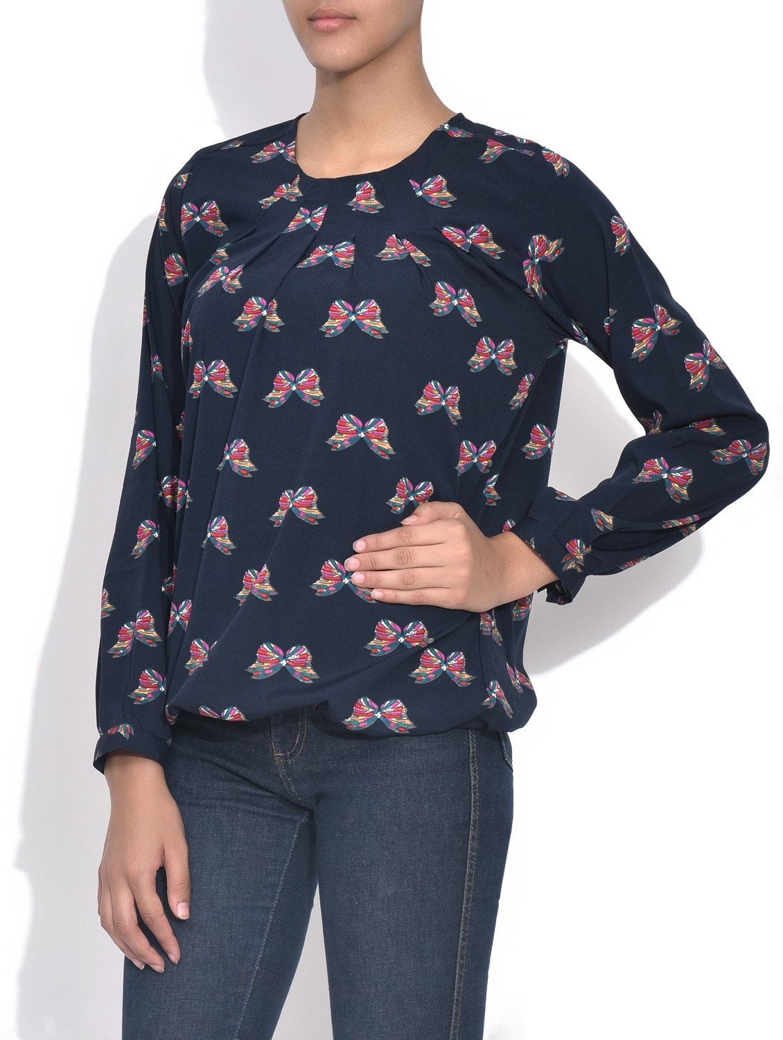 b71160bfd90bcf Buy Navy Blue Butterfly Printed Crepe Top for Women from Color Cocktail for  ₹412 at 54% off