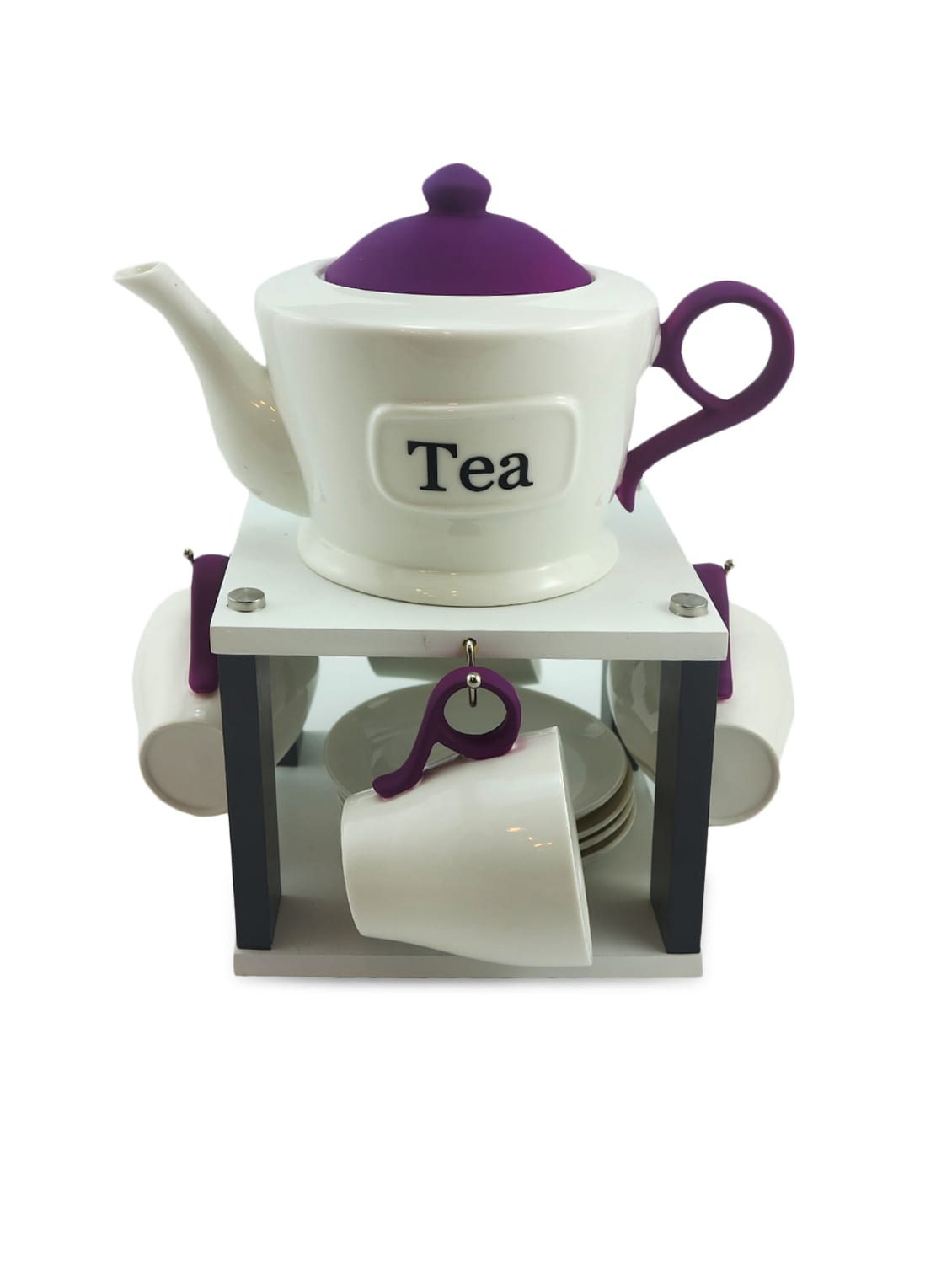 White Ceramic Tea Set Of 8 With A Kettle And Stand - By