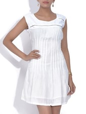 Solid White Sleeveless Cotton Shift Dress - By