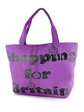 Black And Purple Leatherette Handbag - By