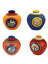Assorted Colors Hand Painted Terracotta Vases (Set Of 4) - By
