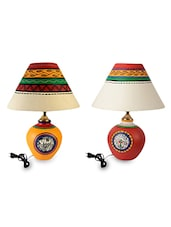 Assorted Colors Hand Painted Terracotta Table Lamps (Set Of 2) - By