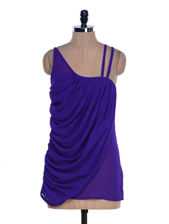 Bright Purple Gathered Top - M Expose