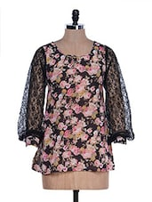 Black Floral Print Top - M Expose