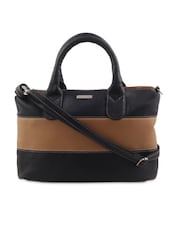 Brown And Black Striped Leatherette Sling Bag - By