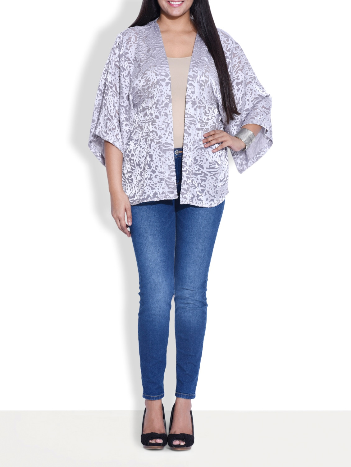 Silver Rayon Open Front Shrug - By