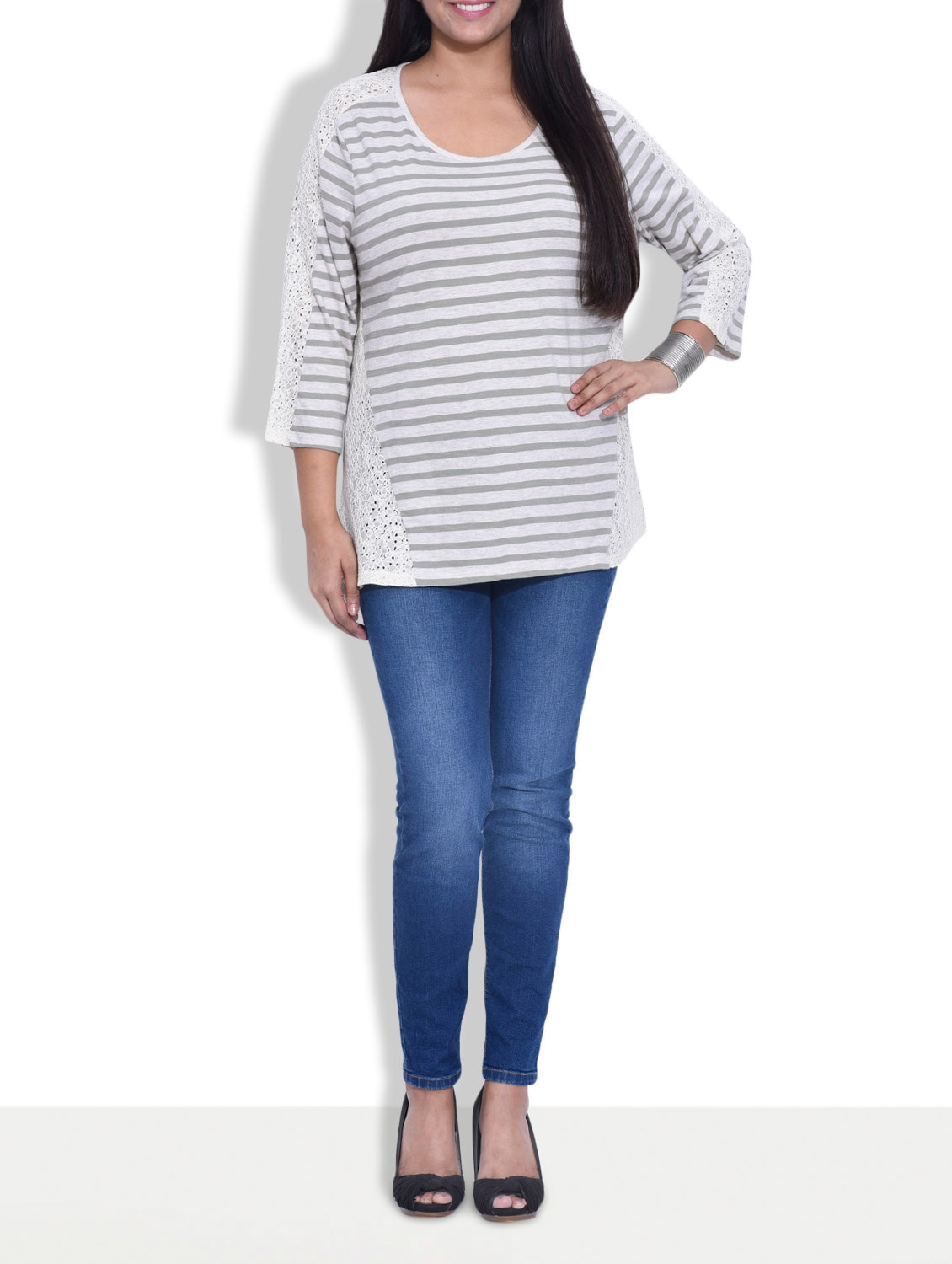 white and grey striped cotton top