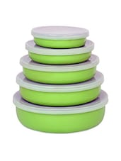 Set Of 5 Light Green Air-tight Stainless Steel Lid Bowls - By