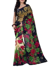 Black & Green Faux Georgette  Printed Saree - By