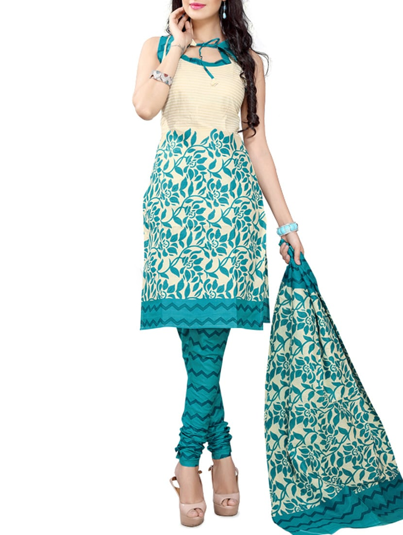 Green Cotton Printed Dress Material