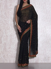 Black Embroidered Georgette Saree - By