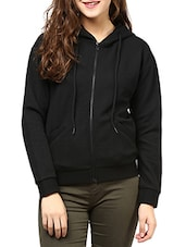 Solid Black Cotton Quilted Knit Jacket - By