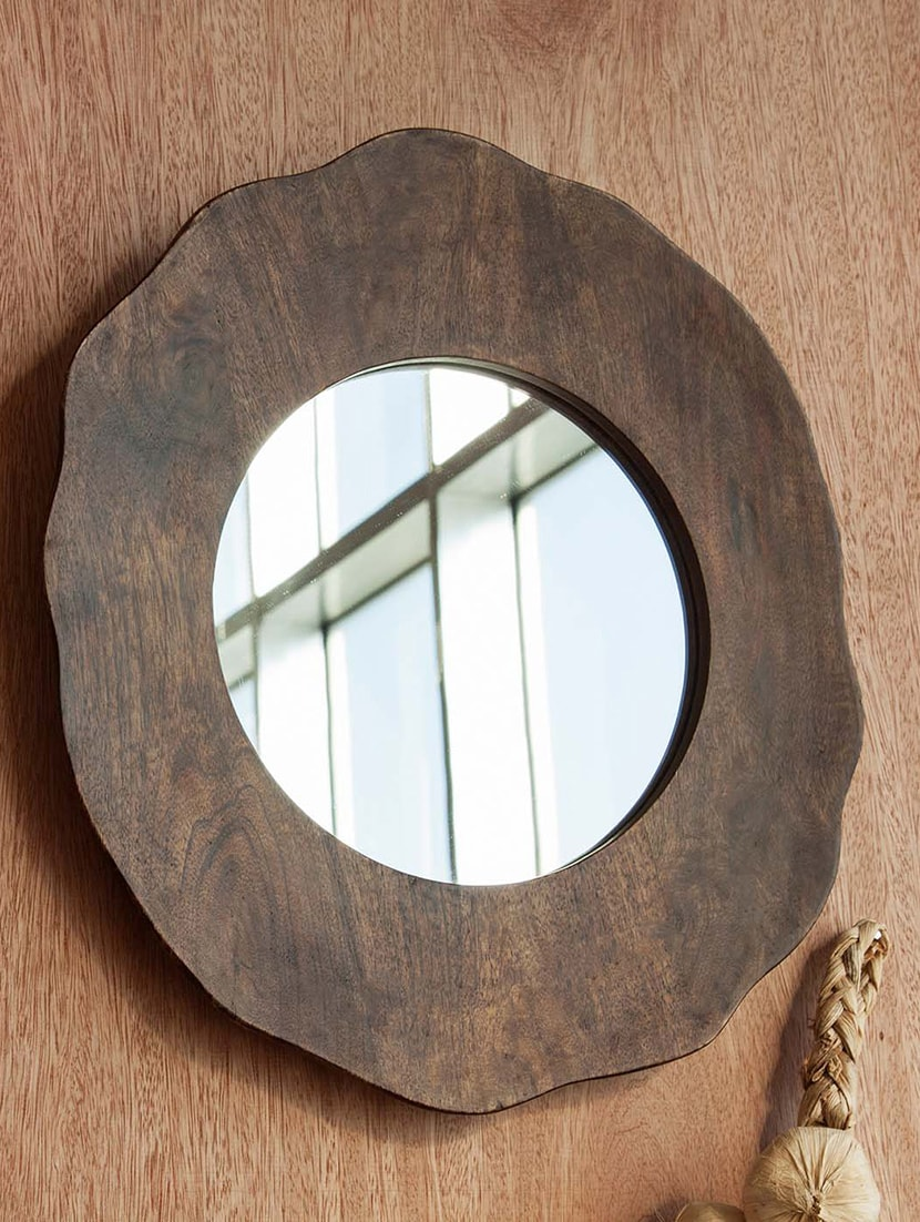 Multicolored Mango Wood And Glass Wall Mirror - By