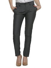 Grey Poly Cotton Straight Pant - Thegudlook