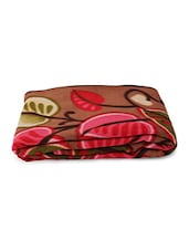 Multicolored Floral And Leaf Printed Blanket - By