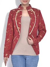 Brick Red Leaf Printed Full Sleeved Jacket - By