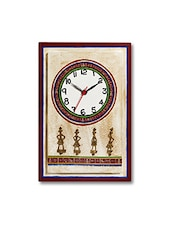 Multicolored Wooden Printed Wall Clock With Dhokra Work - By