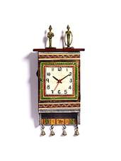 Beautiful Wooden Green Dhokra Art Wall Clock Cum Key Holder - By