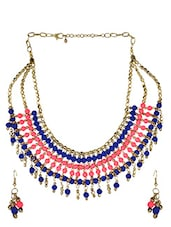 Fabulous Fluorescent Pink And Velvet Blue Necklace - VR Designers