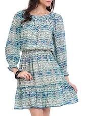 Aqua Print Skater Dress - Ridress