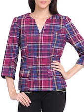 Plaid Open Front Jacket - Ridress