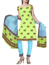 Blue And Green Cotton Printed Unstitched Suit Set - By