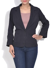 Solid Black Single Breasted Blazer - By