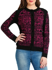 Black And Pink Jacquard Cardigan - By