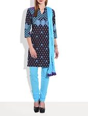 Blue Multi Printed Quarter Sleeved Cotton Kurta - By