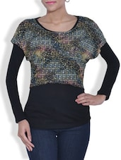 Multicolored Round Neck Viscose Top - By
