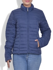 Solid Navy Blue Full Sleeved Quilted Jacket - By