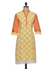 Lace Yellow Cotton Kurti With Zari Work - Paislei
