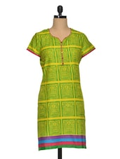 Block Printed Colour Block Short Sleeve Cotton Kurta - Paislei