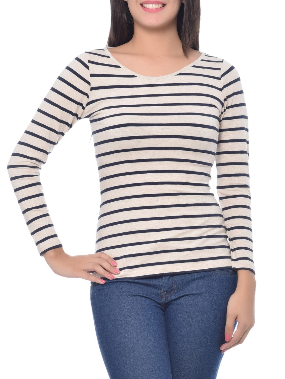 5c5d8ca249 Buy White And Blue Modal Spandex Striped Boat Neck Top for Women from  Frenchtrendz for ₹878 at 18% off | 2019 Limeroad.com