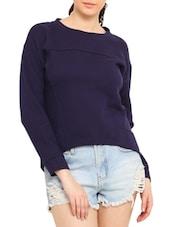 Navy High Low Cotton Poly Fleece Sweatshirt - By