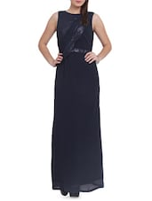 Navy Blue Sequined Maxi Dress - Pera Doce