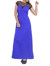 Electric Blue And Black Maxi Dress - Pera Doce