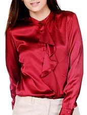 Chic Maroon Top With Ruffled Placket - By