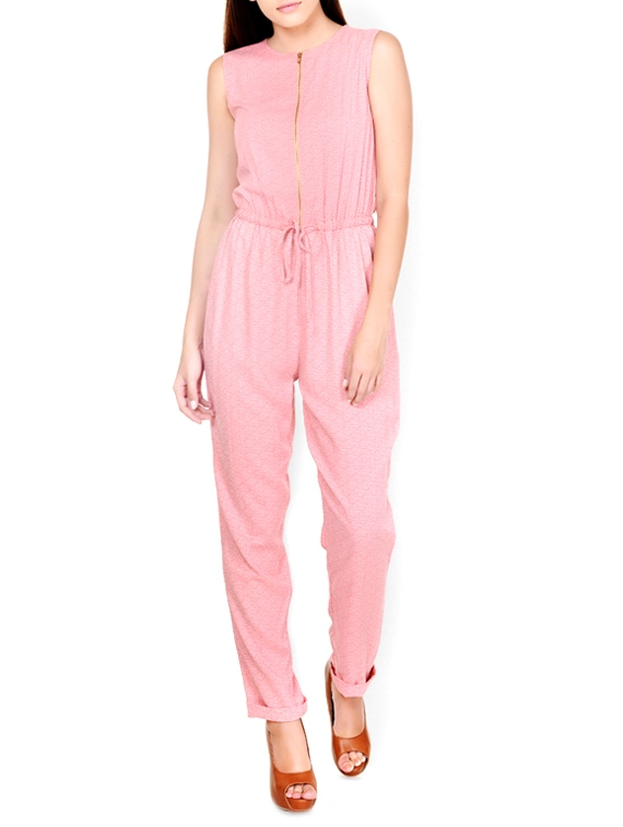 Peppy Peach Front-Zippered Jumpsuit - Pera Doce