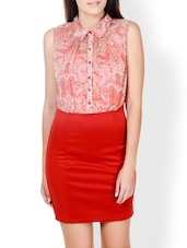 Red Polyester Dress With Paisley Details - Pera Doce