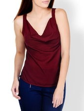 Chic Maroon Cowl Detail Top - Pera Doce