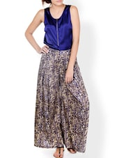 Navy Blue Shimmery Top With Front Zipper Detail - Pera Doce