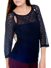 Navy Blue Top With Sheer Yoke And Sleeves - Pera Doce