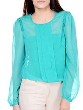 Front Pleated Sheer Full-sleeve Top - Pera Doce