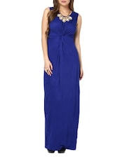Chic Electric Blue Twisted Maxi Dress - Pera Doce