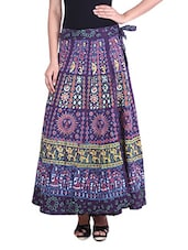 Multicolored Printed Cotton Wrap Around Skirt - By