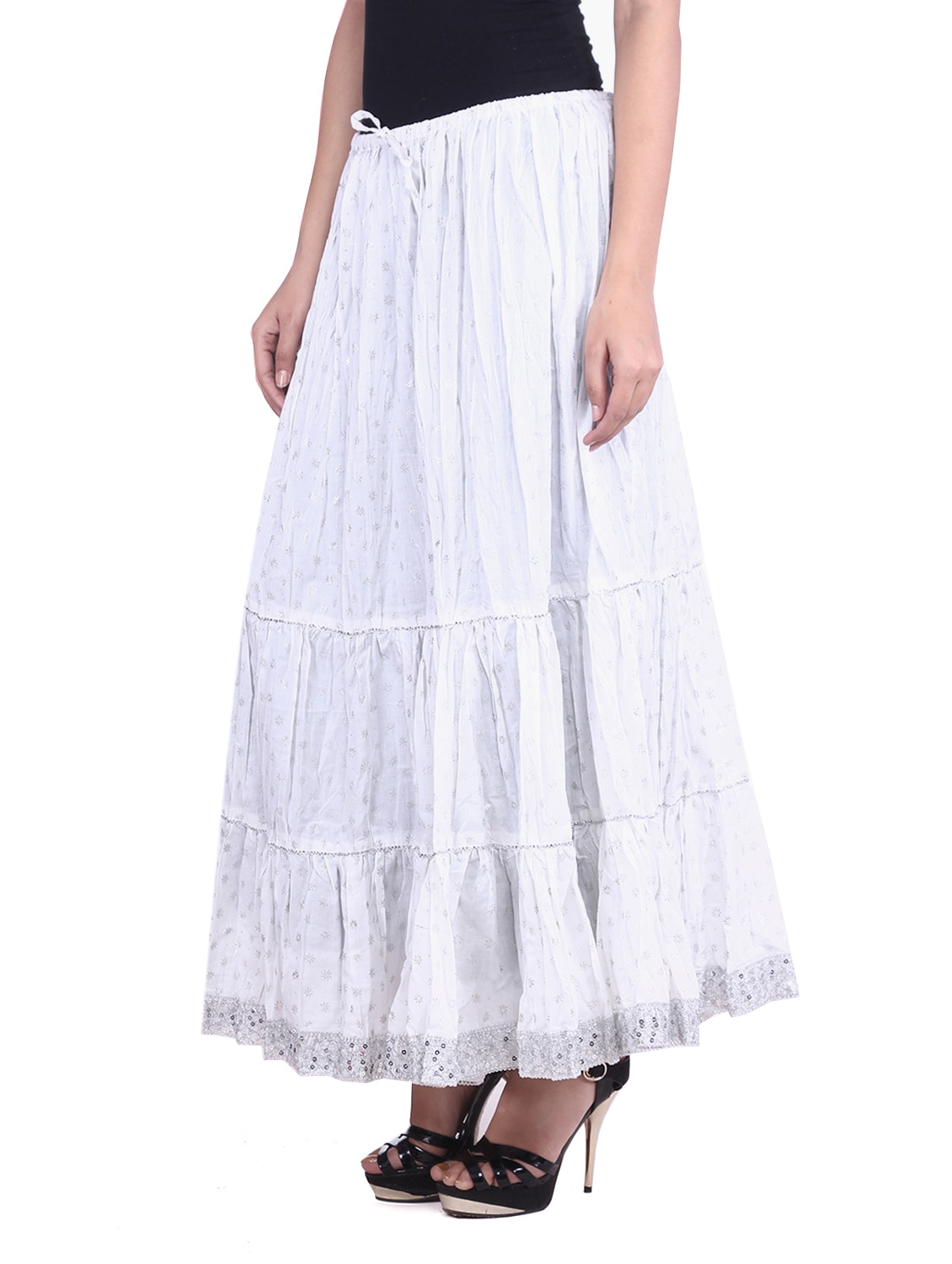 0d1a165569 White Cotton Printed N Sequined Gathered Skirt